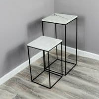 WHITE MARBLE BLACK METAL NEST OF 2 LAMP SIDE END DISPLAY TABLES